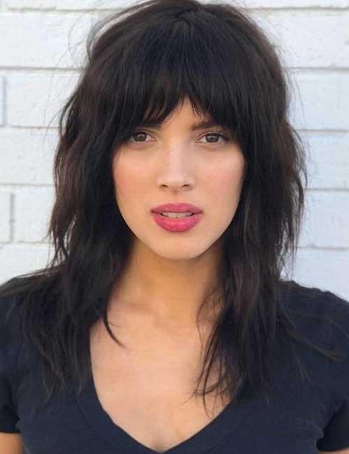 Best Long Hair With Bangs Looks - Swept Frontal Bangs