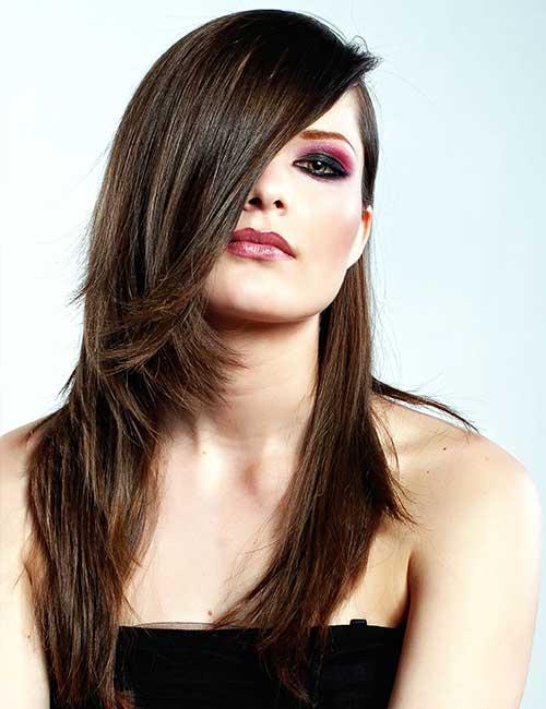 Best Long Hair With Bangs Looks - Sleek Side Bangs