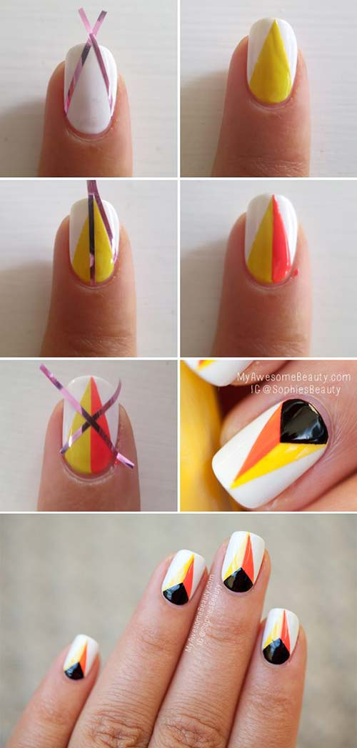 simple nail designs 1 white and orange flames nail art pinit