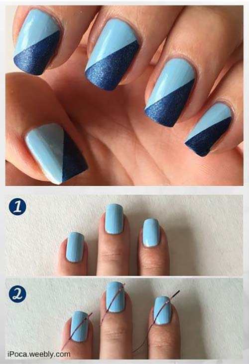 Easy Nail Designs - 14. Two-Toned Blue Nail Art Pinit - 25 Easy Nail Art Designs (Tutorials) For Beginners - 2018 Update