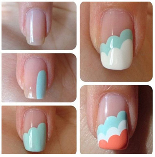 Easy Nail Designs - 18. Triple Cloud Nails