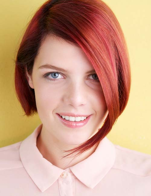 Short Hairstyles For Round Faces - Ultra Red Asymmetrical Bob