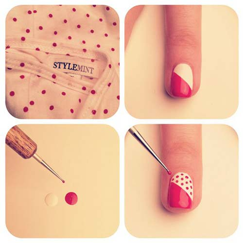 Easy Nail Designs - 23. Red And White Polka Nail Art Tutorial