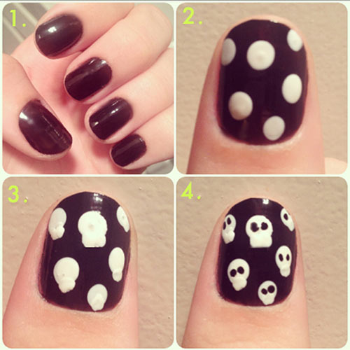 Easy Nail Designs - 25. Halloween Skulls Nail Art Tutorial