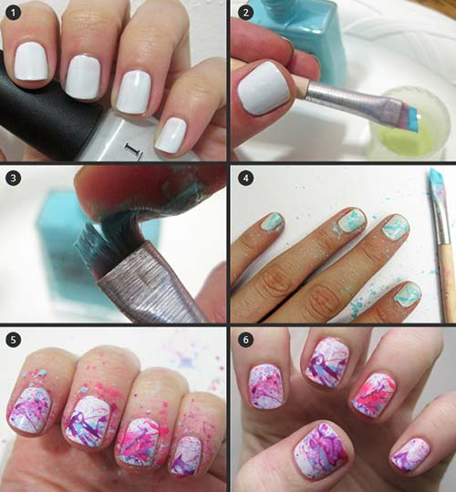 easy nail designs for beginners 3 color splash nail art pinit