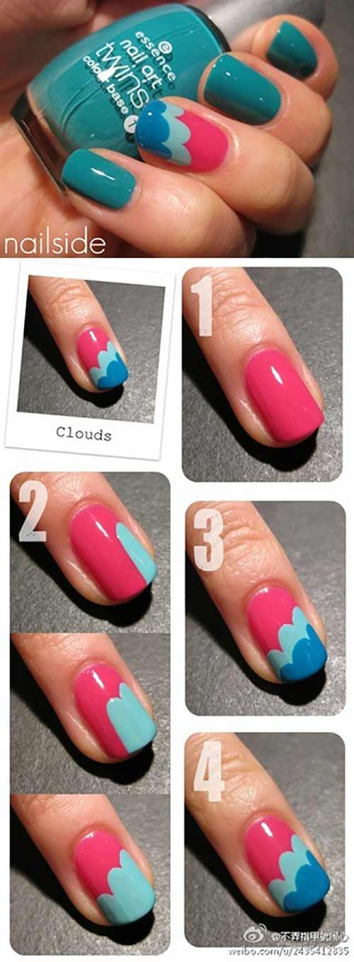 Simple Nail Designs - 4. Colorful Clouds Nail Art Pinit - 25 Easy Nail Art Designs (Tutorials) For Beginners - 2018 Update
