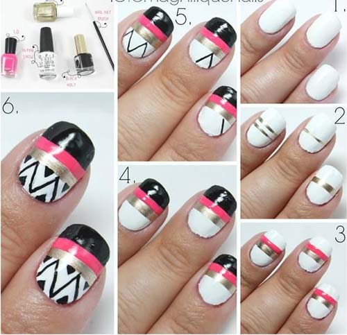 Easy Nail Designs For Beginners - 8. Striped Aztec Nail Art