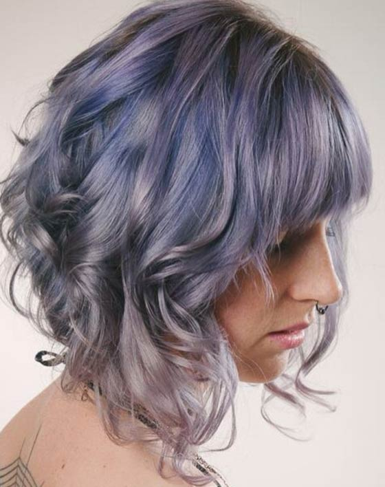 Best Layered Hairstyles With Bangs - Short Curly Layers  With Front Bangs
