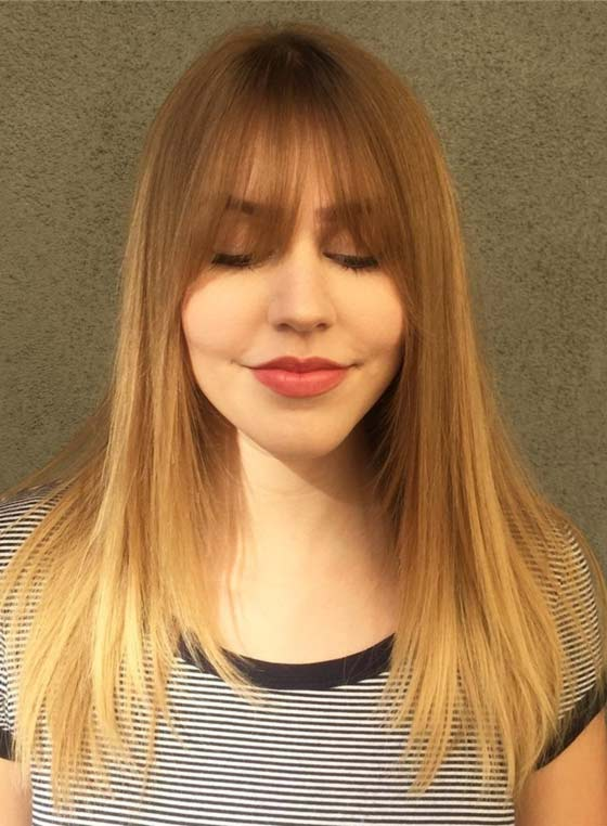 Best Layered Hairstyles With Bangs - Straight Ombre Layers And Eye Grazing Bangs