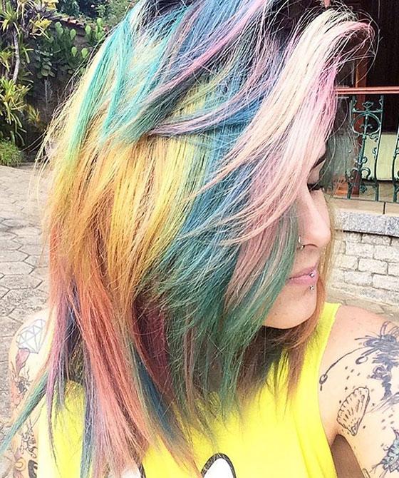 Best Layered Hairstyles With Bangs - Dense Rainbow Bangs
