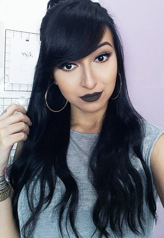 Best Layered Hairstyles With Bangs - High Half Ponytail