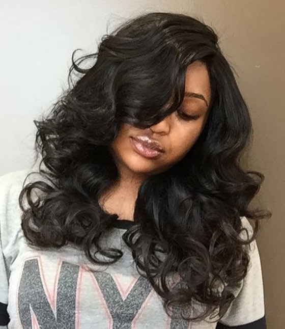 Best Layered Hairstyles With Bangs - Bouncy Curls And Voluminous Bangs