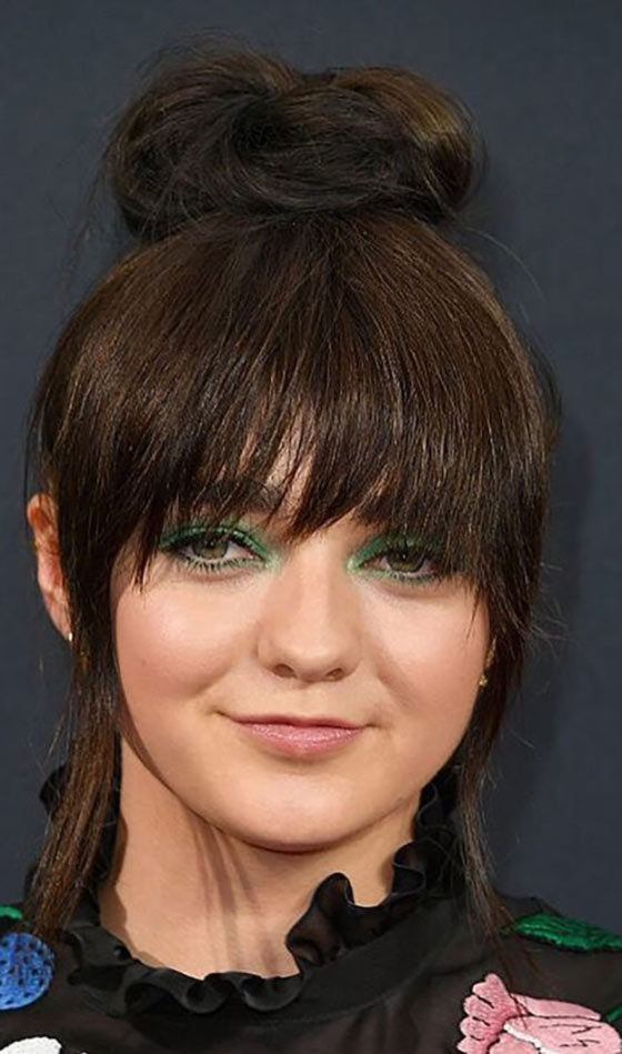 Best Layered Hairstyles With Bangs - Top Bun With Two Tiered Bangs