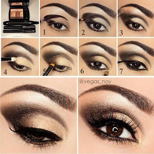 Black and Gold Smokey Eye Makeup Tutorial