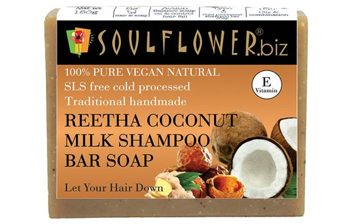 Soulflower Reetha Coconut Milk Shampoo Bar Soap