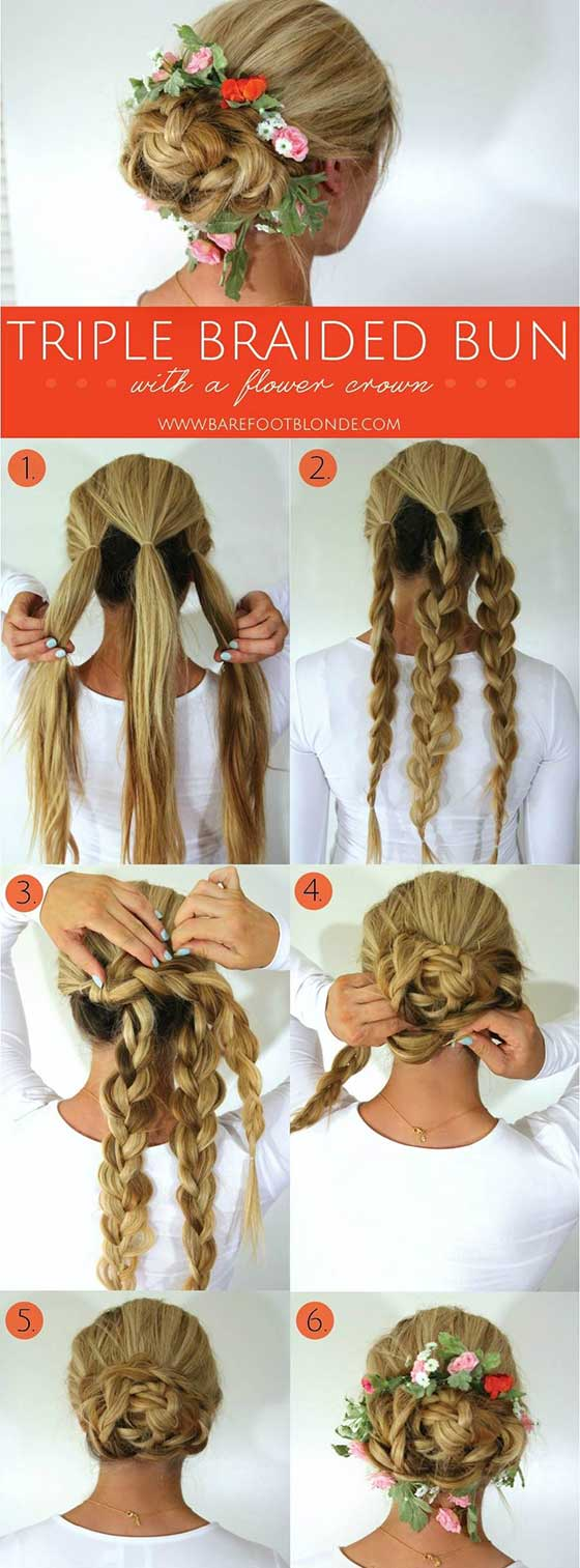 Triple-Braided-Bun-With-A-Flower-Crown