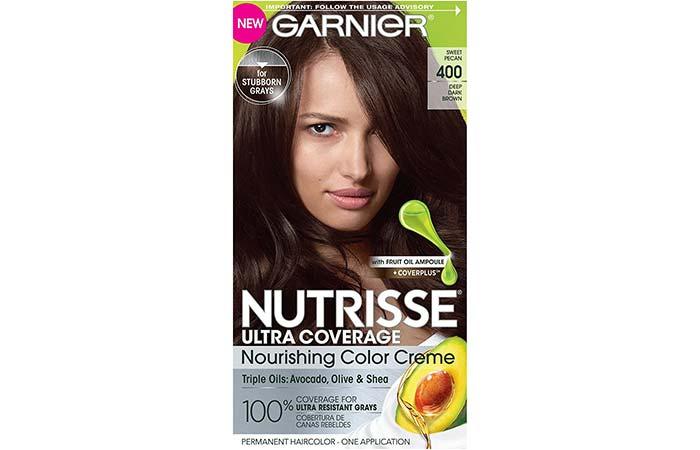 12. Garnier Nutrisse Ultra Coverage Nourishing Color Creme – Sweet Pecan (Deep Dark Brown)