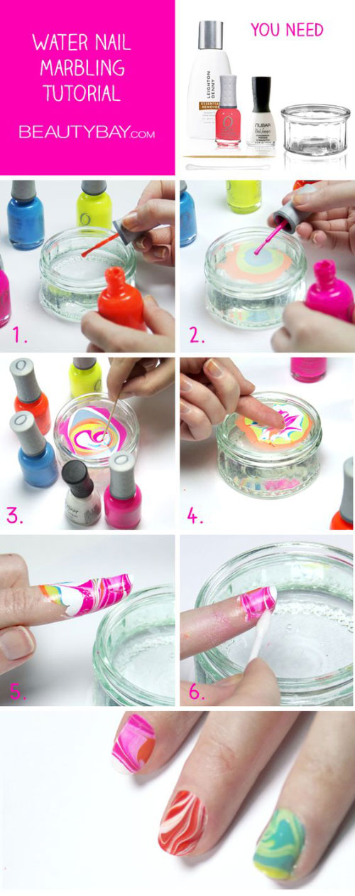 Neon Marbled Nail Art Design Tutorial