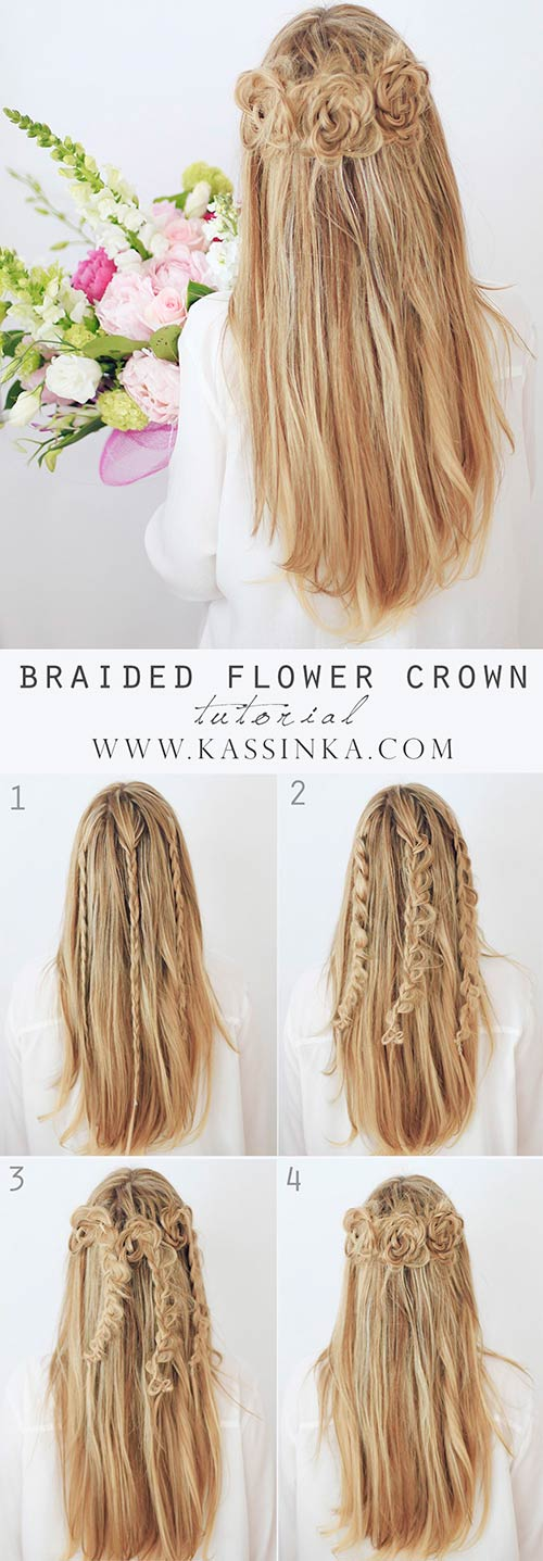 3 Braided Flower Crown 20 Awesome Hairstyles