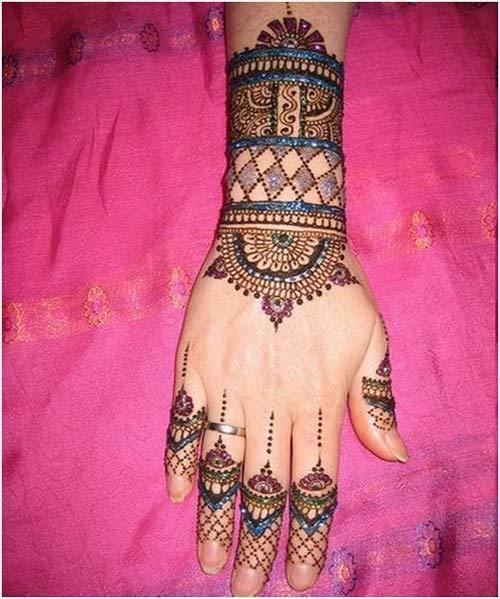 colourful mehndi design