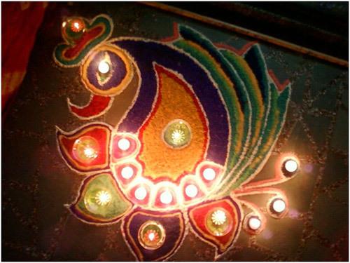 peacock rangoli patterns