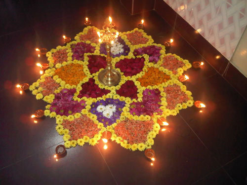 rangoli designs with flowers simple