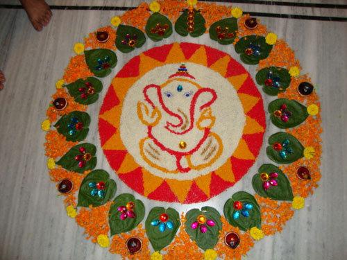 rangoli designs with ganesh ji