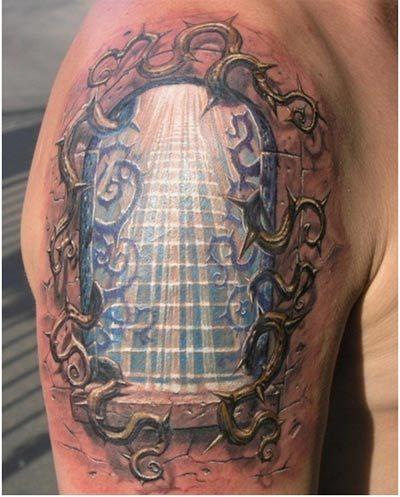 illuminating staircase tattoo