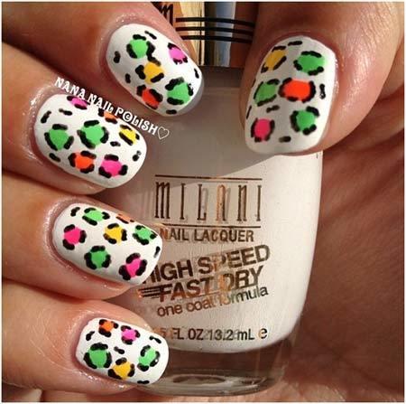 neon leopard print nails