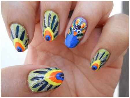 peacock nails design