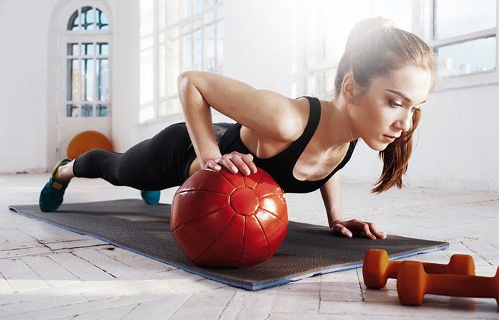 Medicine Ball Exercises - Split Push-Up Knee Tuck