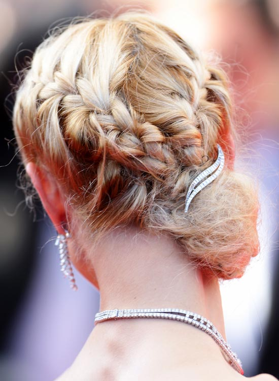 Bun Hairstyles For Long Hair - Double-Braided-Low-Side-Bun-with-Brooch