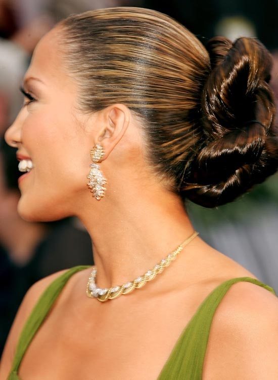 Glossy-Twisted-Updo-with-Polished-Top