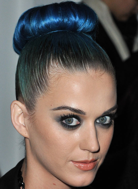 Bun Hairstyles For Long Hair - High-Donut-Electric-Blue-Bun-with-Silky-Smooth-Finish