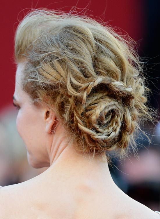 Bun Hairstyles For Long Hair - Low-Braided-Rose-Bun-with-Pouf-and-Messy-Waves