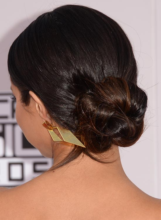 Low-Polished-Twisted-Updo-with-Highlights