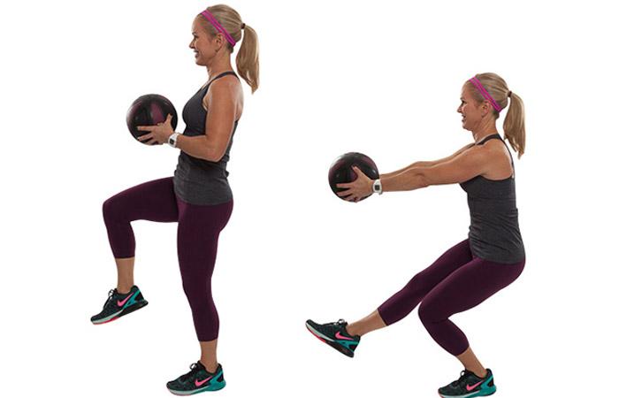 Medicine Ball Exercises - Single Leg Squat