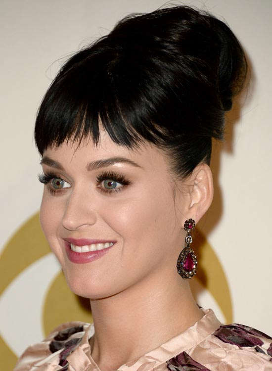 Bun Hairstyles For Long Hair - Super-High-Folded-Bun-with-Short-Fringes