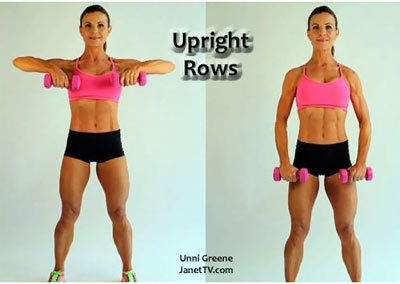 upright rows with barbell
