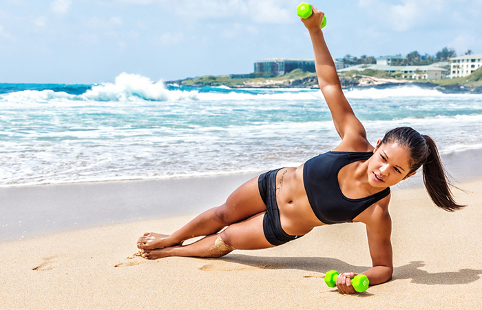 Triceps Exercises - Side Plank With Dumbbell Raise
