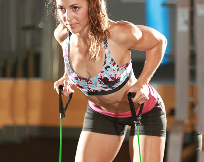 Triceps Exercises - Triceps Horizontal Press With Resistance Band