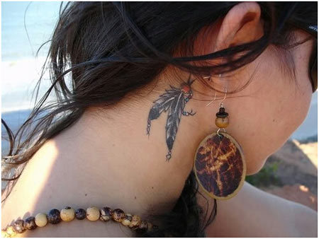 Dual Feathers Ear Tattoo