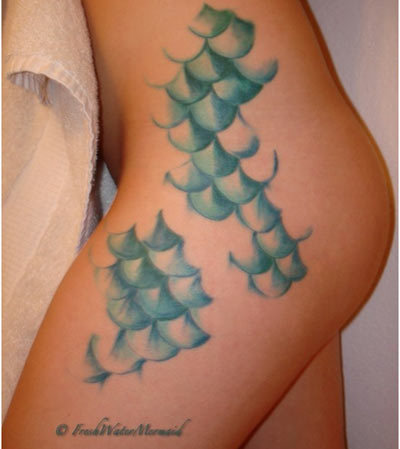 Pisces Mermaid Scales Tattoo