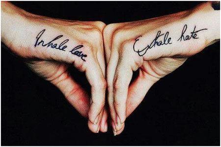 inhale love exhale hate tattoo