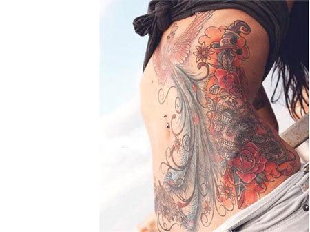 phoenix stomach tattoo