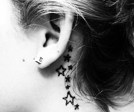 stars behind ear tattoo