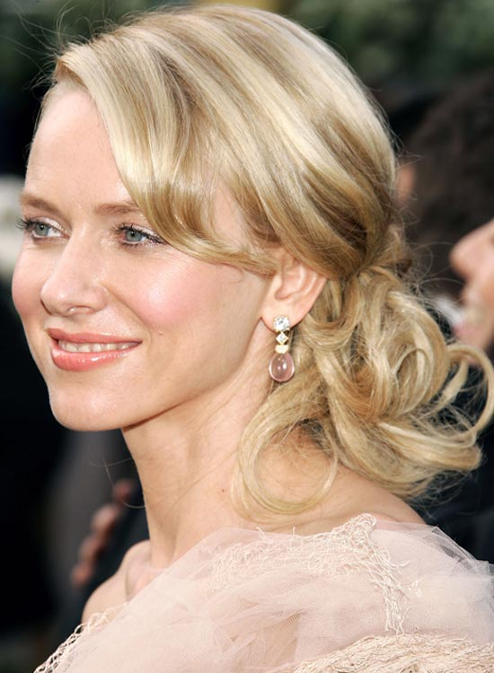 Curly Low Side Hairdo With Side-Swept Bangs