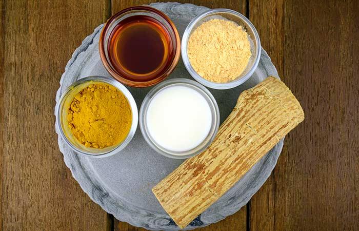 Cream, Gram Flour And Turmeric Face Pack For Dry Skin