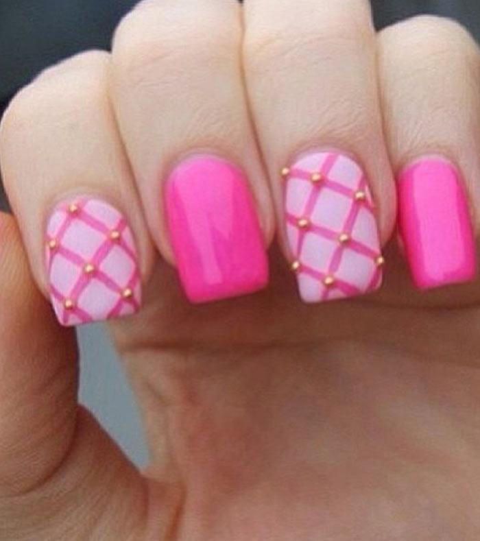 Criss-Cross Jazz - Light Pink Nail Art