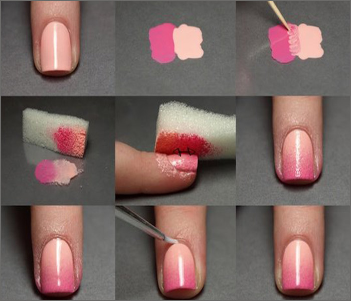 Pink and Peach Ombre Nail Art